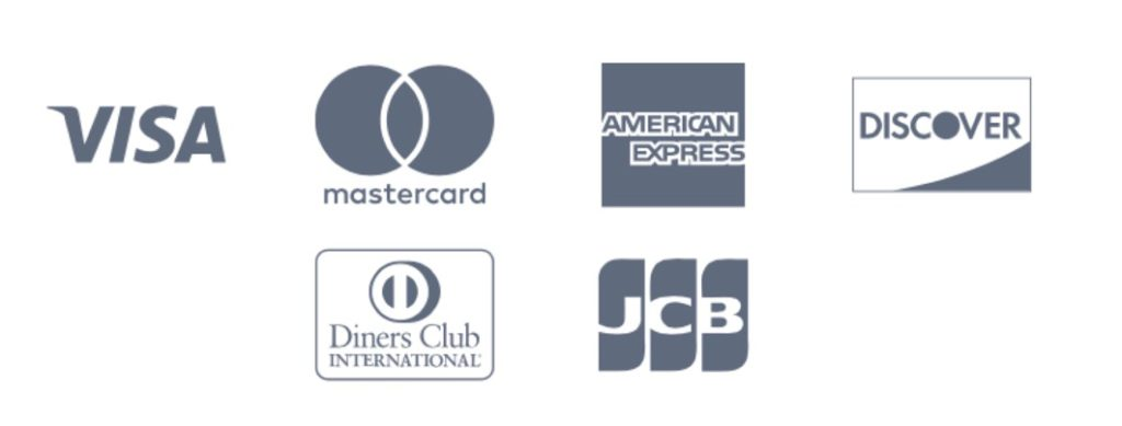 VISA / MasterCard / AMERICAN EXPRESS / DISCOVER / Diners Club / JCB